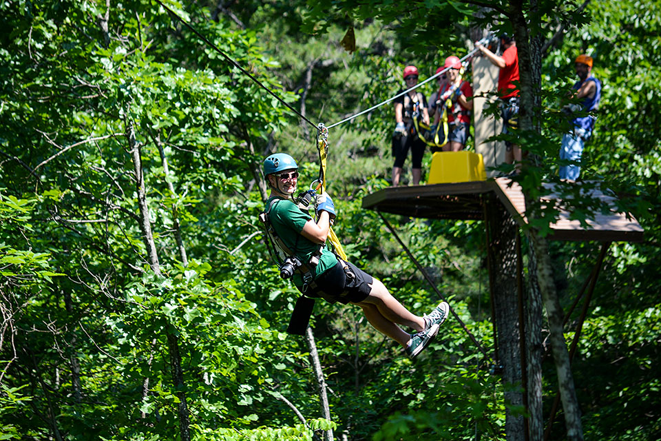 Crossing on a Wire - Copyright 2019, Smoky Mountain Ziplines