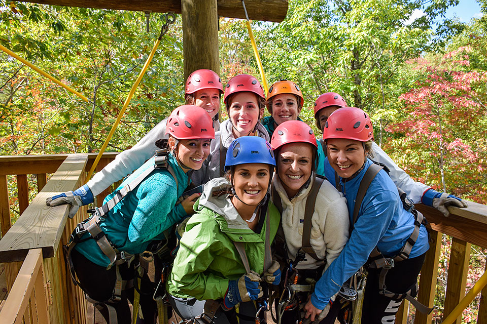 Girls Having Fun at Smoky Mountain Ziplines - Copyright 2019, Smoky Mountain Ziplines