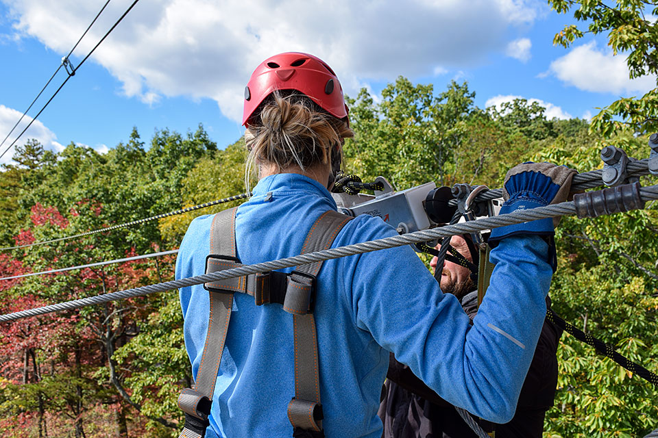 Going Off the Big Zip Line Tower - Copyright 2019, Smoky Mountain Ziplines