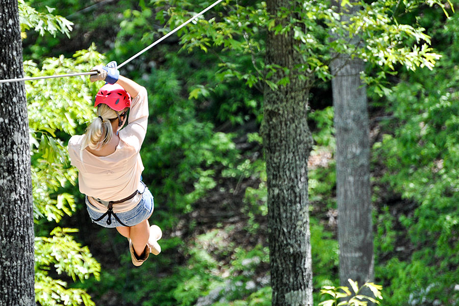 Woman on a Smoky Mountain zip line